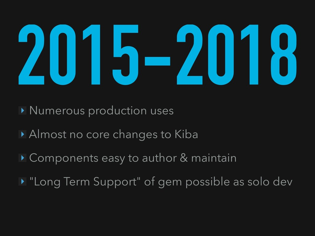 2015-2018 Numerous production uses Almost no co...