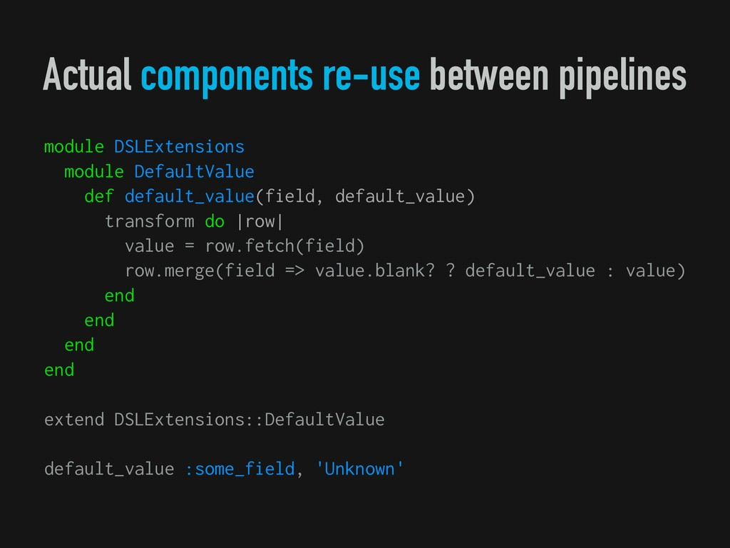 Actual components re-use between pipelines modu...