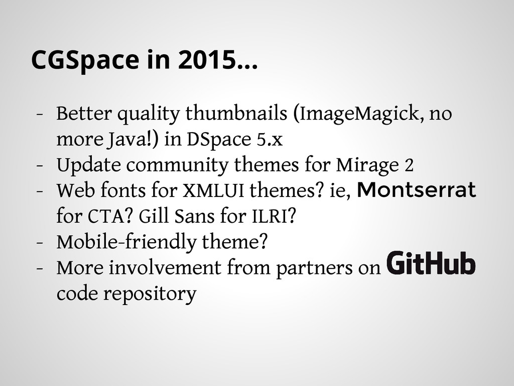 CGSpace in 2015... - Better quality thumbnails ...