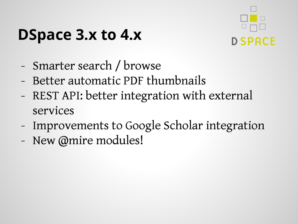 DSpace 3.x to 4.x - Smarter search / browse - B...