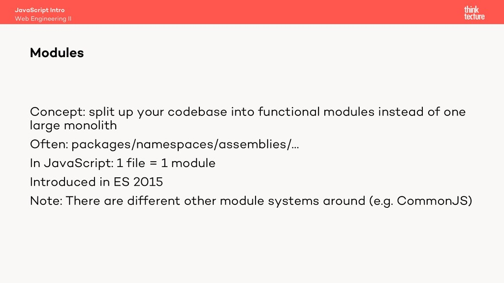 Modules Web Engineering II JavaScript Intro Con...