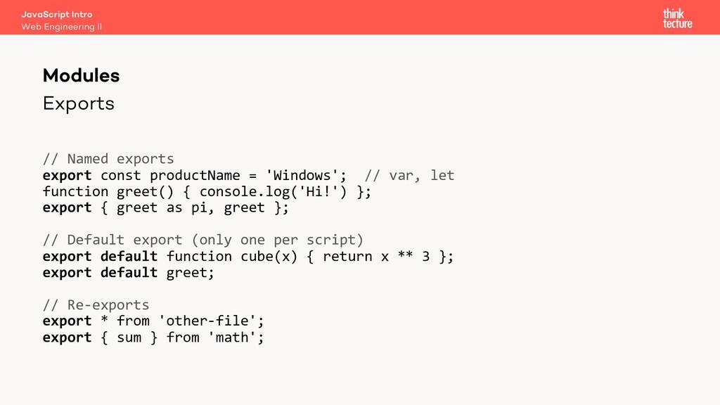 Exports Modules Web Engineering II JavaScript I...