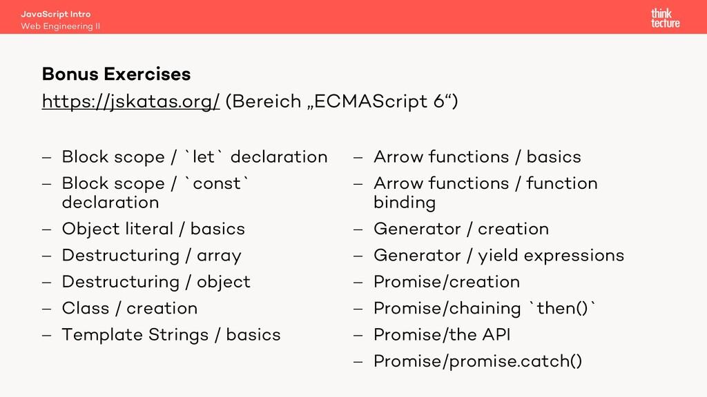 """https://jskatas.org/ (Bereich """"ECMAScript 6"""") -..."""
