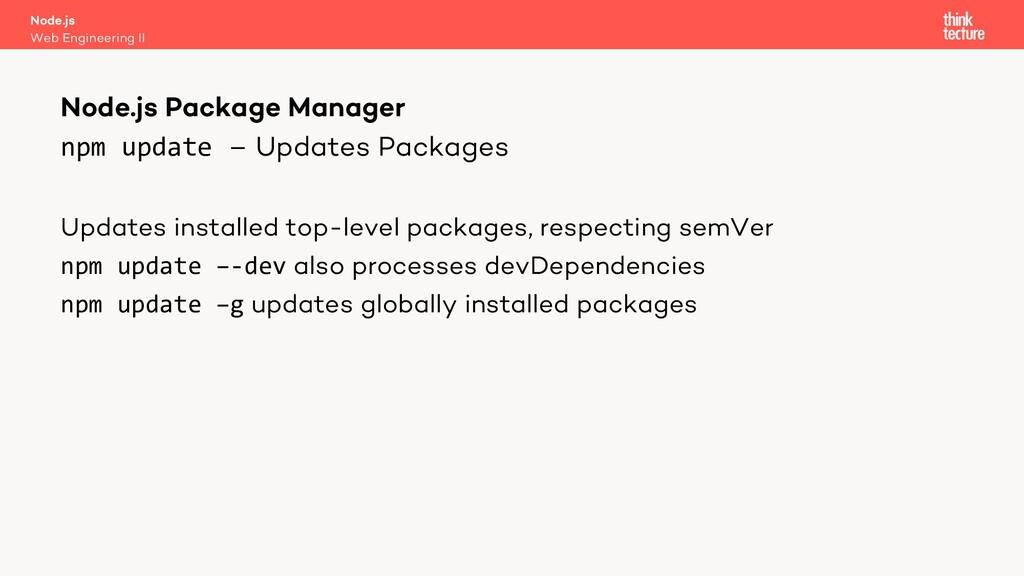 npm update – Updates Packages Updates installed...
