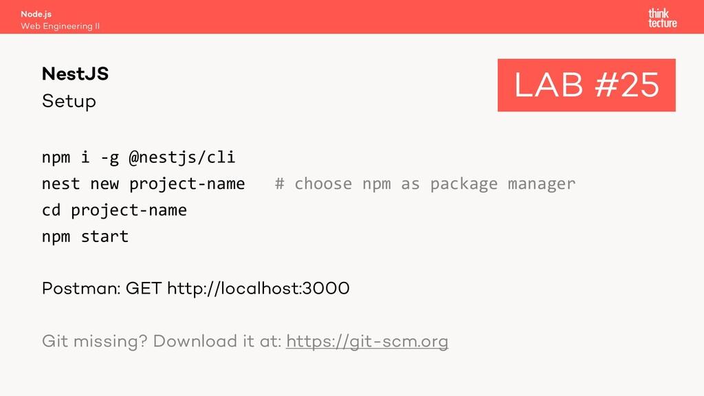 Setup npm i -g @nestjs/cli nest new project-nam...