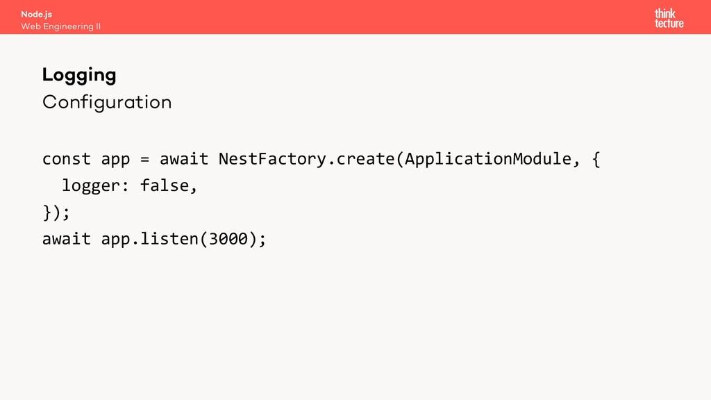 Configuration const app = await NestFactory.cre...