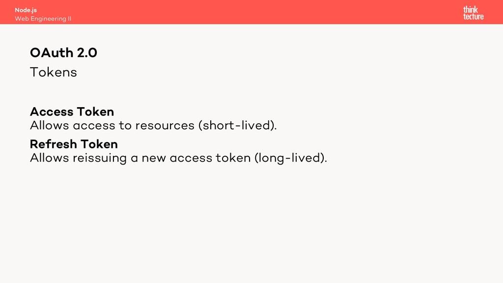 Tokens Access Token Allows access to resources ...