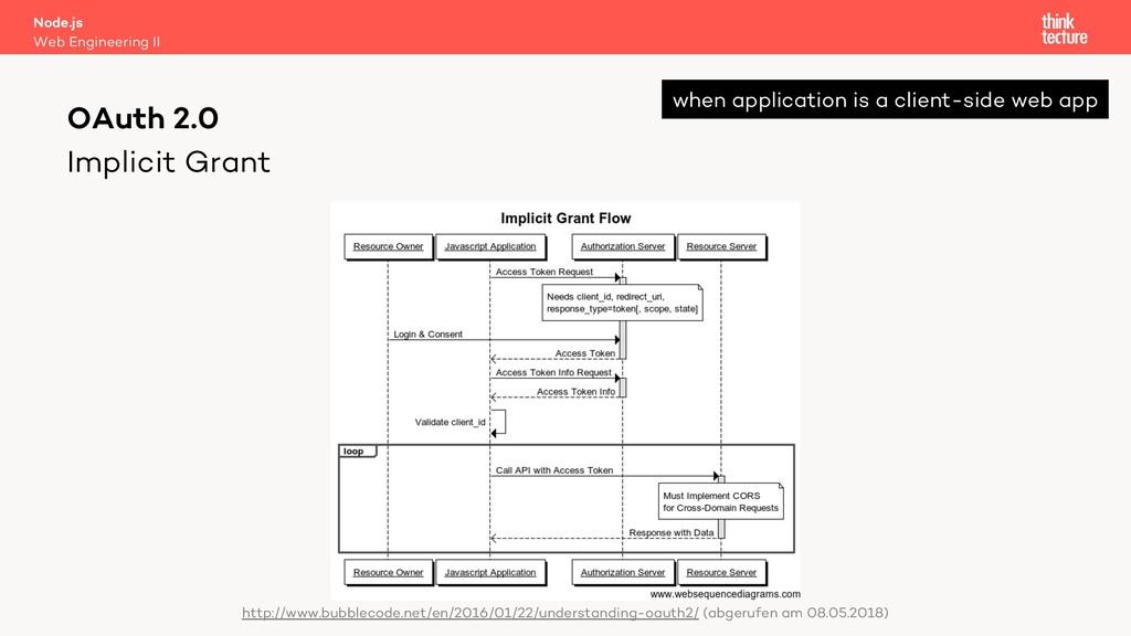 Implicit Grant Node.js Web Engineering II OAuth...