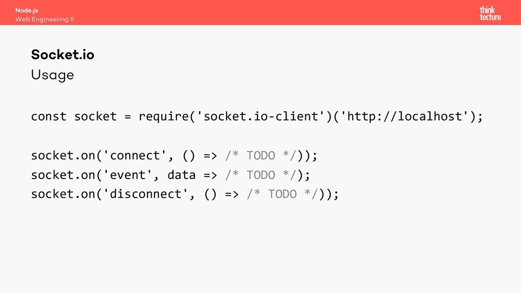 Usage const socket = require('socket.io-client'...