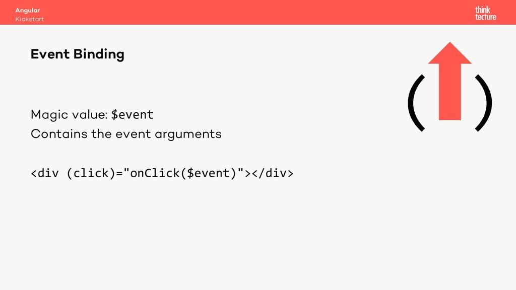 Magic value: $event Contains the event argument...