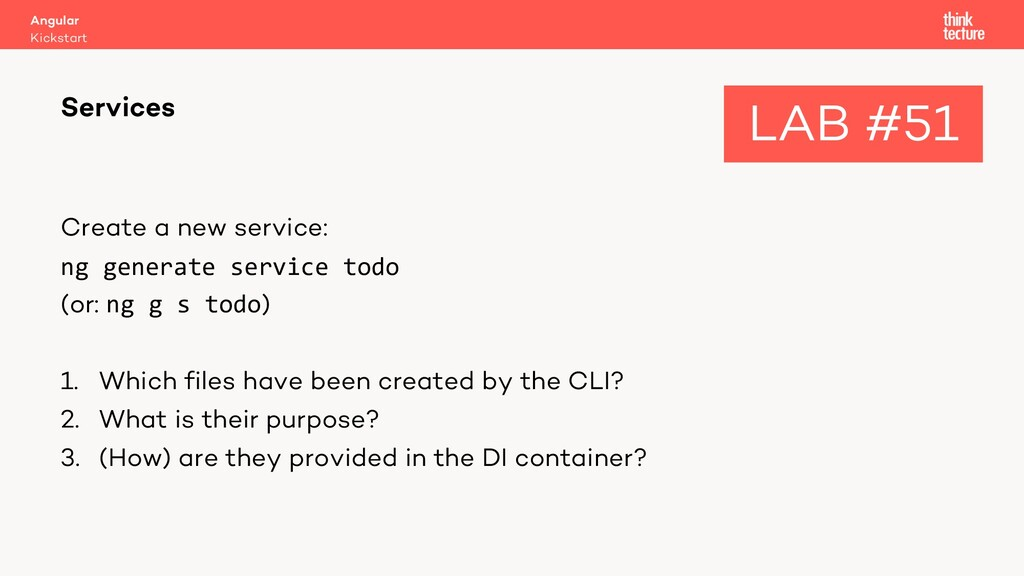 Create a new service: ng generate service todo ...