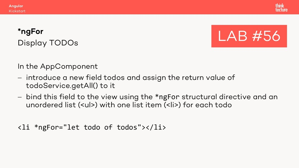 Display TODOs In the AppComponent - introduce a...
