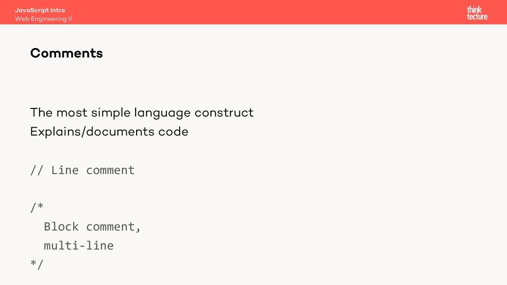 The most simple language construct Explains/doc...