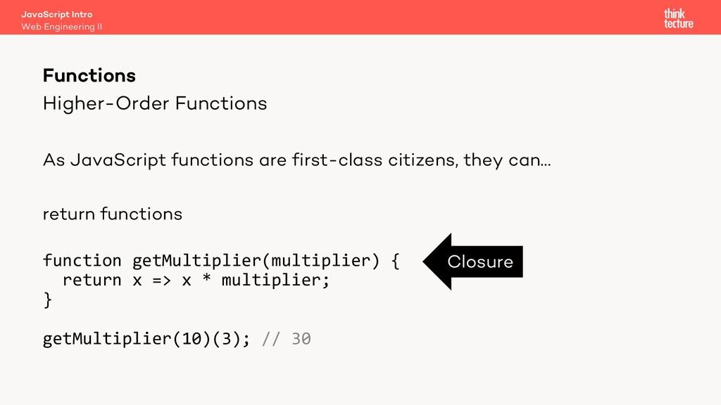 Higher-Order Functions As JavaScript functions ...