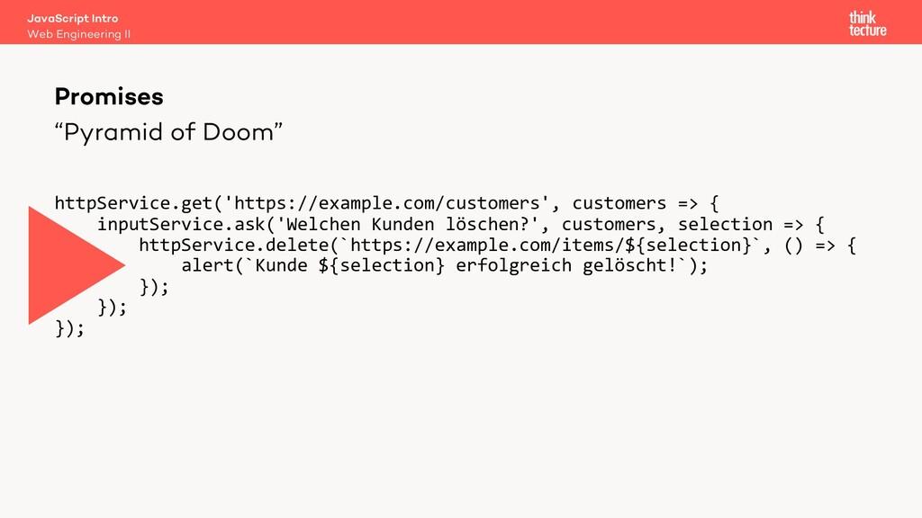 """""""Pyramid of Doom"""" Promises Web Engineering II J..."""