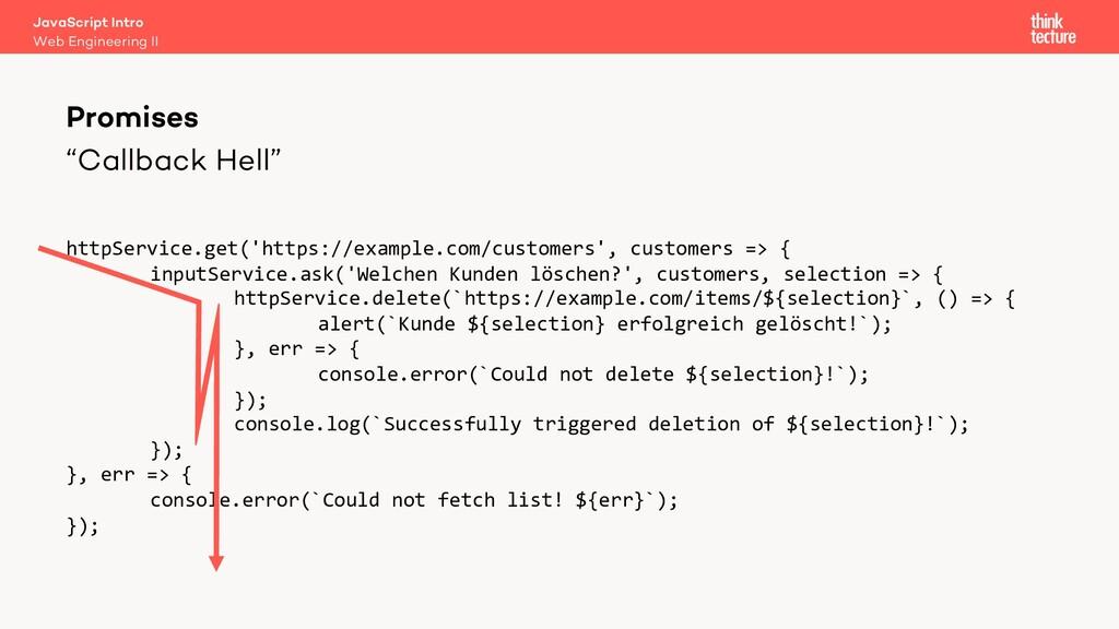 """""""Callback Hell"""" Promises Web Engineering II Jav..."""