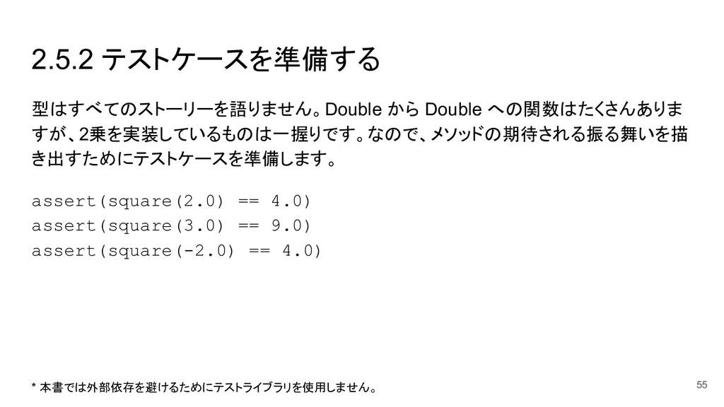 2.5.2 テストケースを準備する 型はすべてのストーリーを語りません。Double から D...