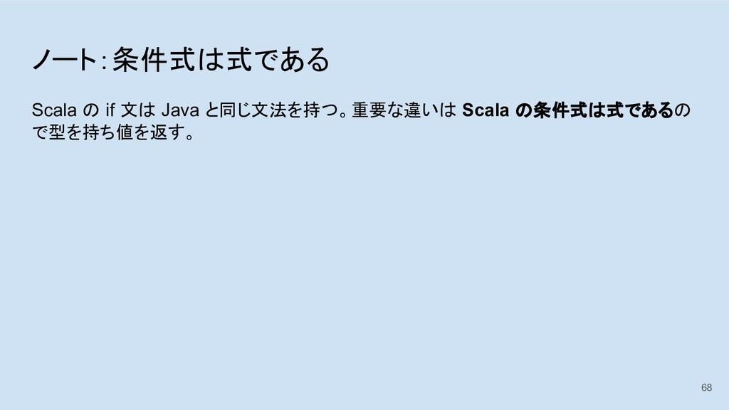ノート:条件式は式である Scala の if 文は Java と同じ文法を持つ。重要な違いは...