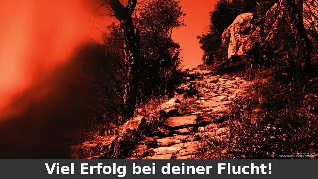 Viel Erfolg bei deiner Flucht! Photo von JR Kor...