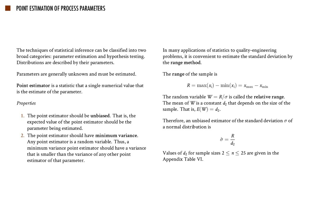 POINT ESTIMATION OF PROCESS PARAMETERS The tech...