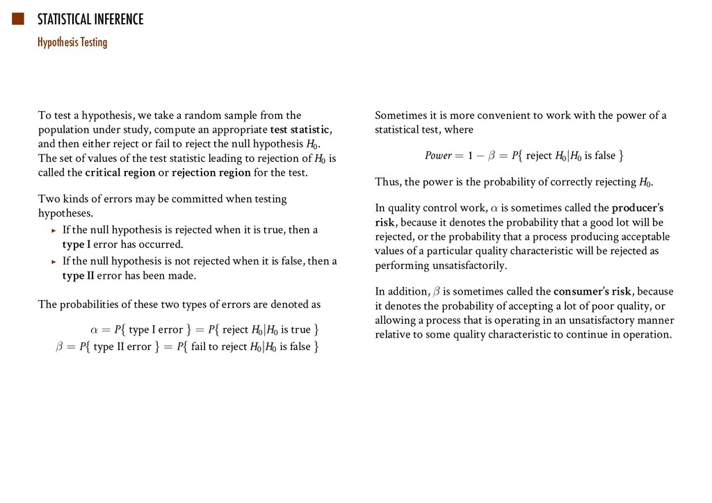 STATISTICAL INFERENCE Hypothesis Testing To tes...