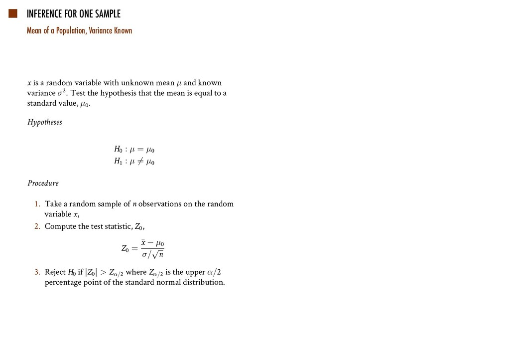 INFERENCE FOR ONE SAMPLE Mean of a Population, ...