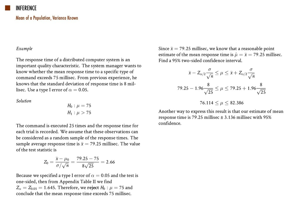 INFERENCE Mean of a Population, Variance Known ...