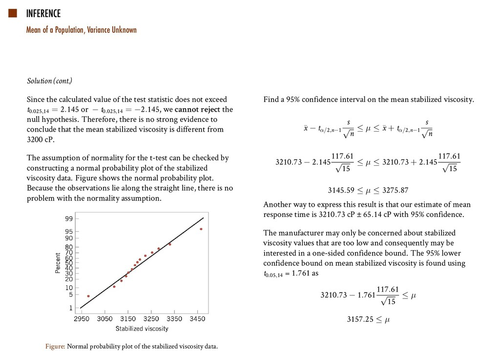INFERENCE Mean of a Population, Variance Unknow...