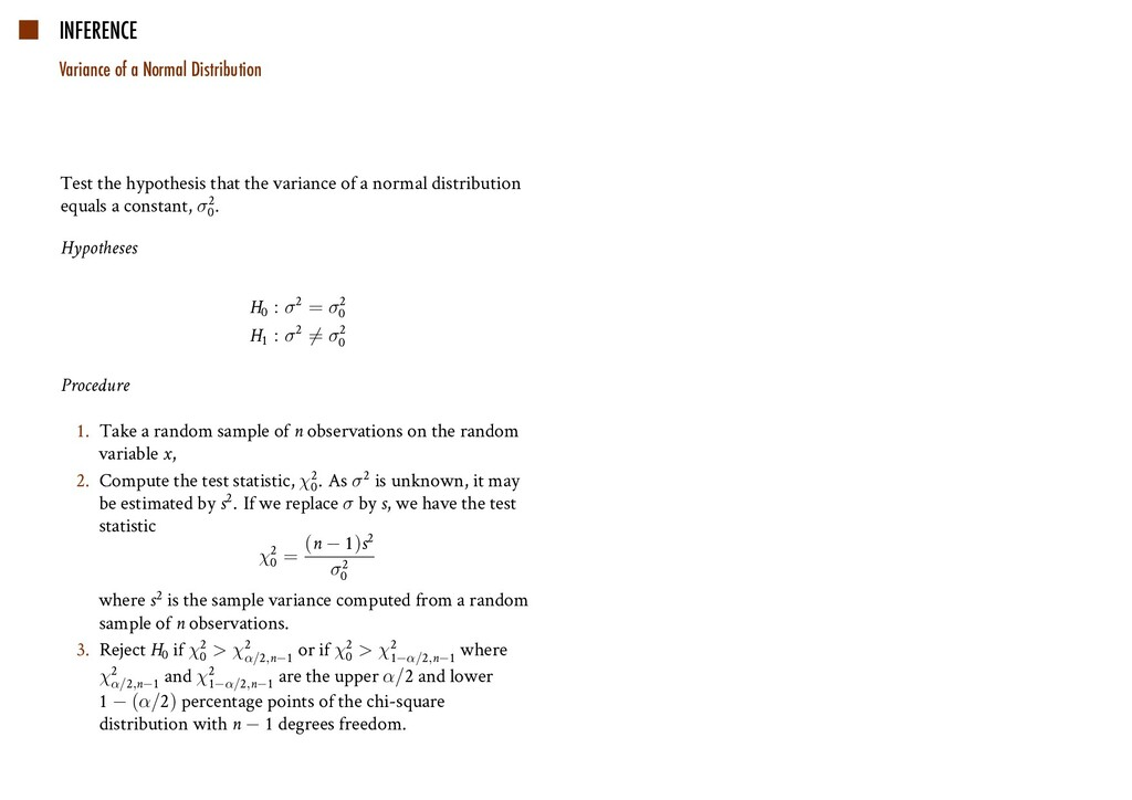 INFERENCE Variance of a Normal Distribution Tes...