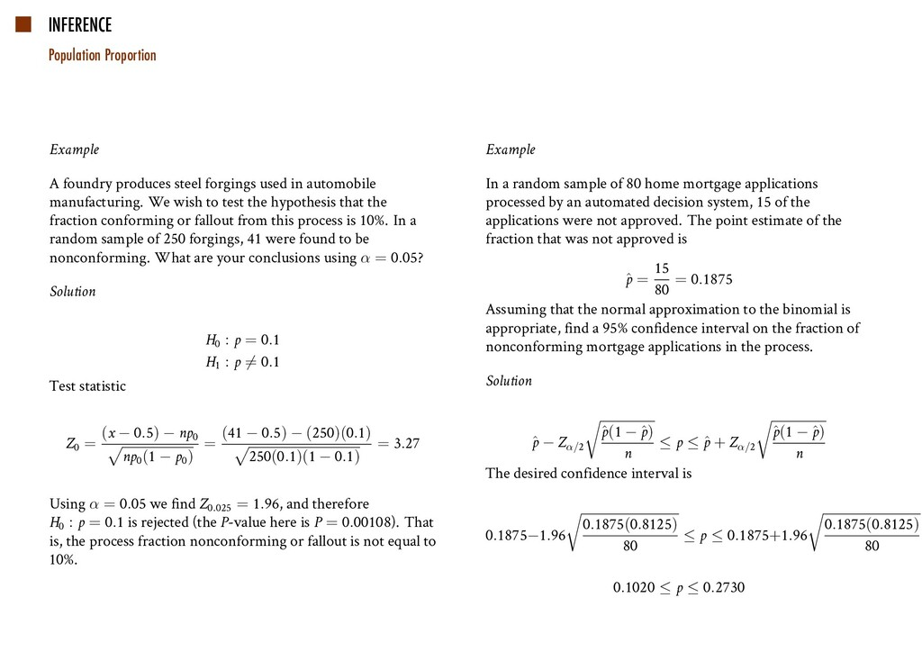 INFERENCE Population Proportion Example A found...
