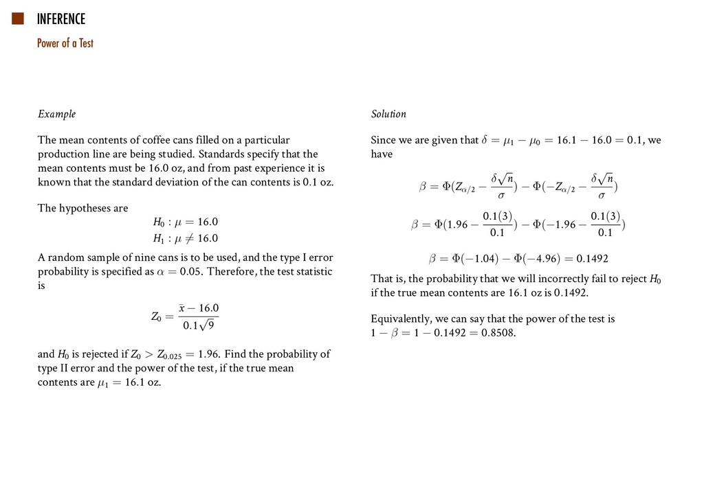 INFERENCE Power of a Test Example The mean cont...