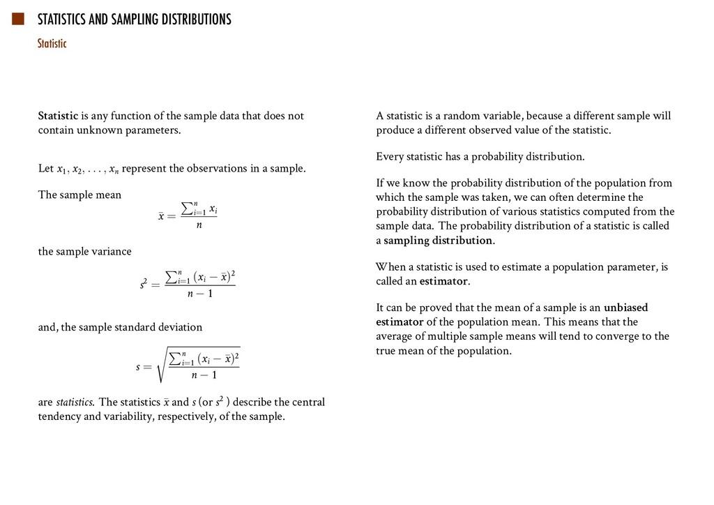 STATISTICS AND SAMPLING DISTRIBUTIONS Statistic...