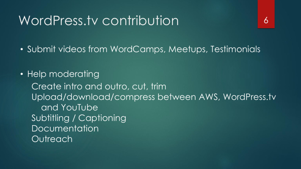 WordPress.tv contribution • Submit videos from ...