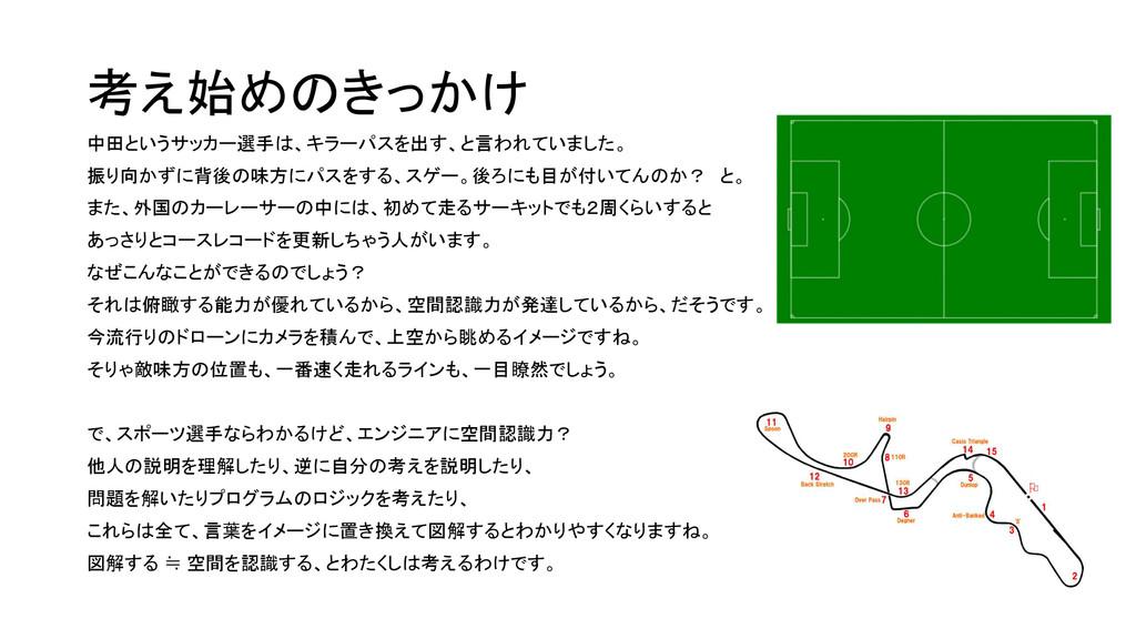 考え始めのきっかけ 中田というサッカー選手は、キラーパスを出す、と言われていました。 振り向か...