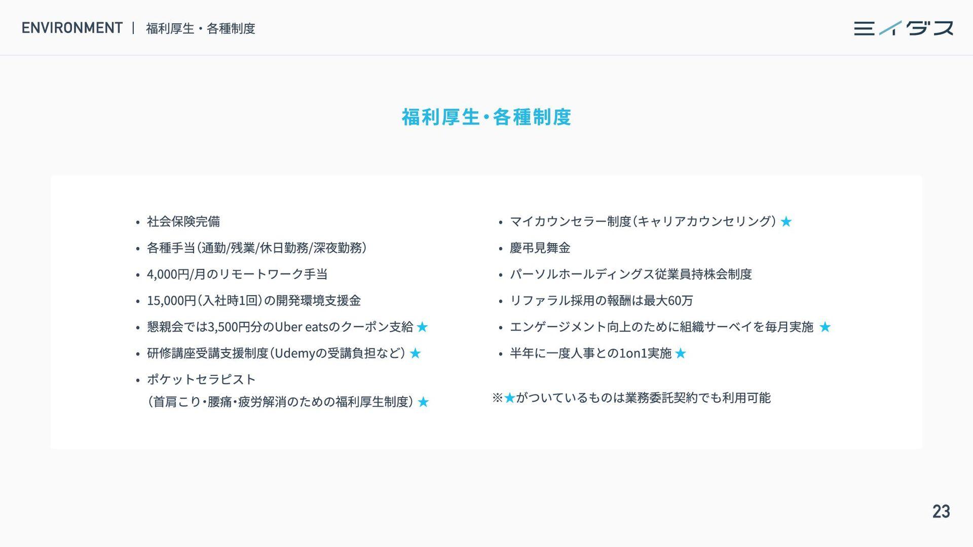 24 EMPLOYEE BENEFITS 福利厚生 ・ 各種制度 福利厚生 新メンバーとのラン...