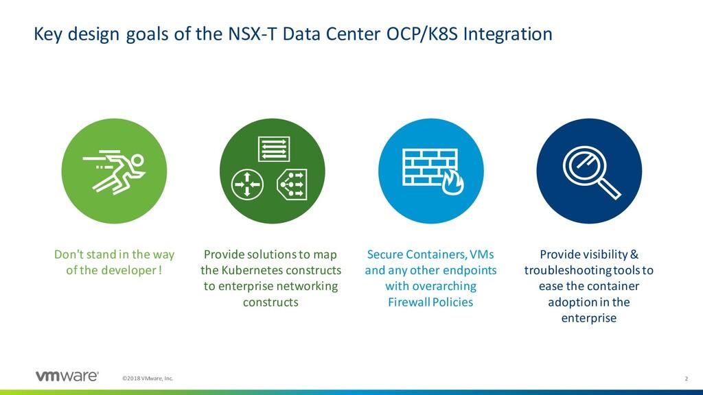 2 ©2018 VMware, Inc. Key design goals of the NS...