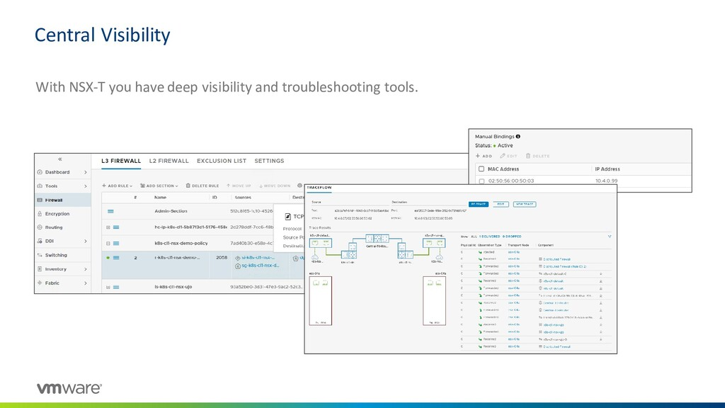 Central Visibility With NSX-T you have deep vis...