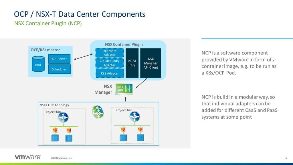 6 ©2018 VMware, Inc. OCP / NSX-T Data Center Co...