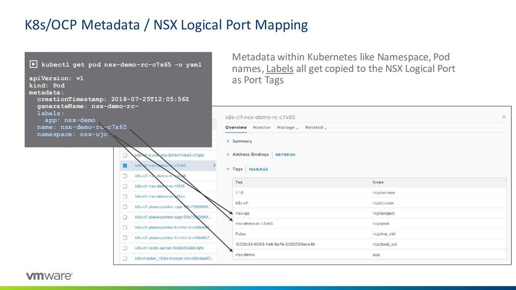K8s/OCP Metadata / NSX Logical Port Mapping ▶ k...