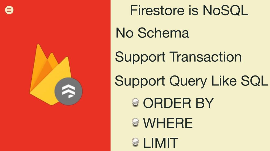 Firestore is NoSQL No Schema Support Transactio...