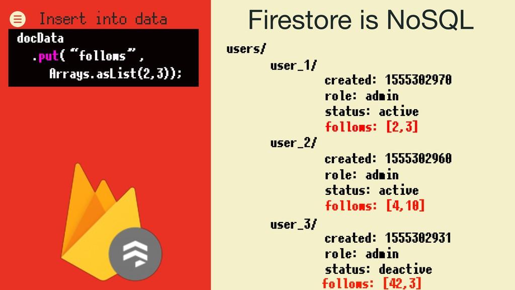 Firestore is NoSQL users/ user_1/ user_2/ user_...