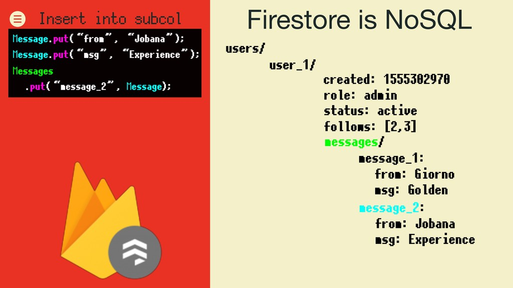 Firestore is NoSQL users/ user_1/ role: admin s...