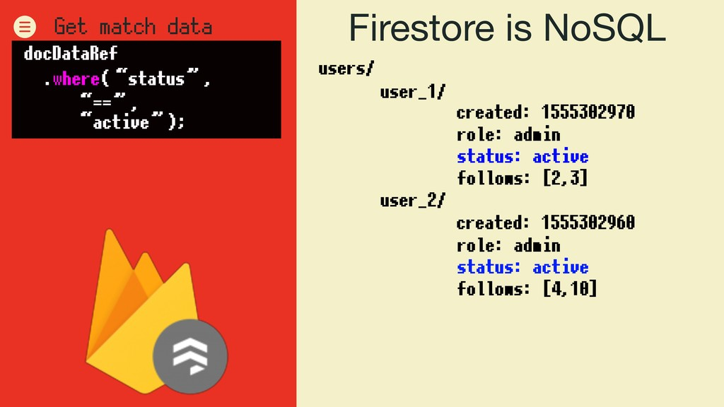 Firestore is NoSQL users/ user_1/ user_2/ role:...