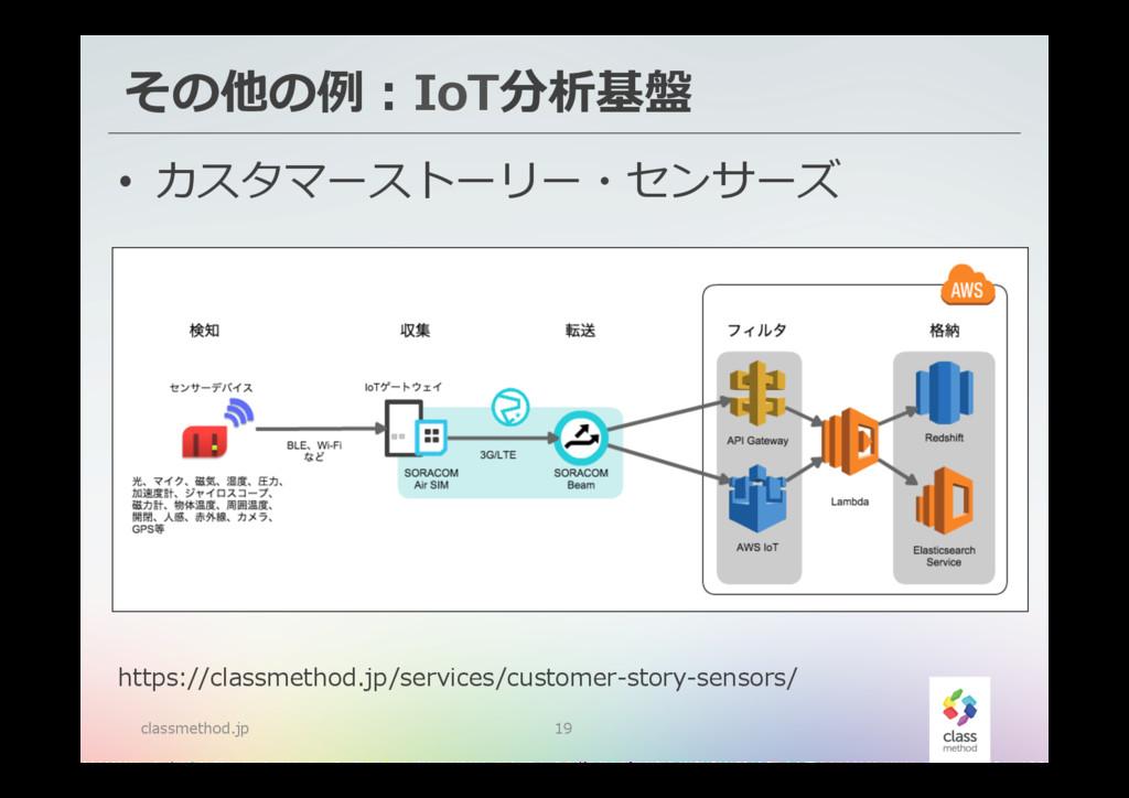 その他の例例:IoT分析基盤 classmethod.jp 19 • カスタマーストーリー・...