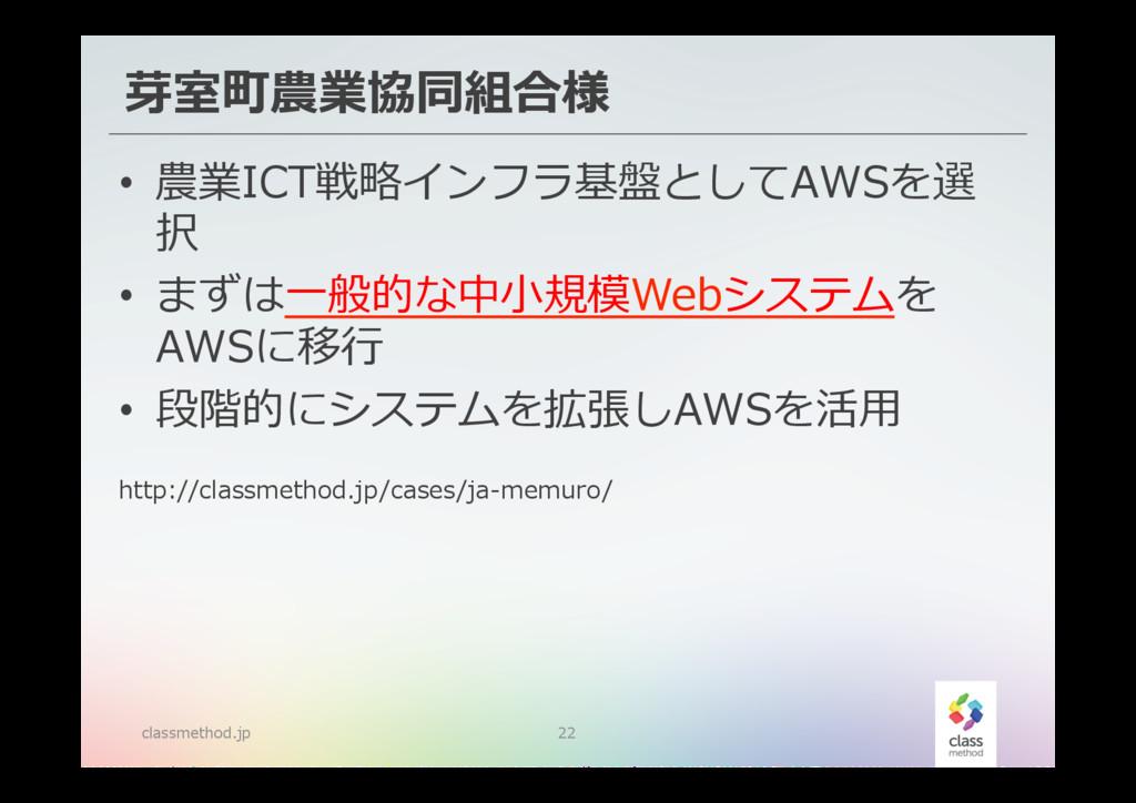 芽室町農業協同組合様 classmethod.jp 22 • 農業ICT戦略略インフラ基盤と...