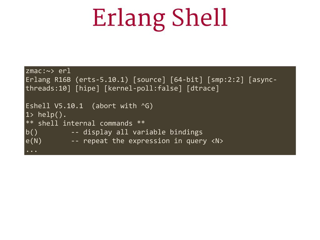 Erlang Shell zmac:~> erl Erlang R16B (erts-...