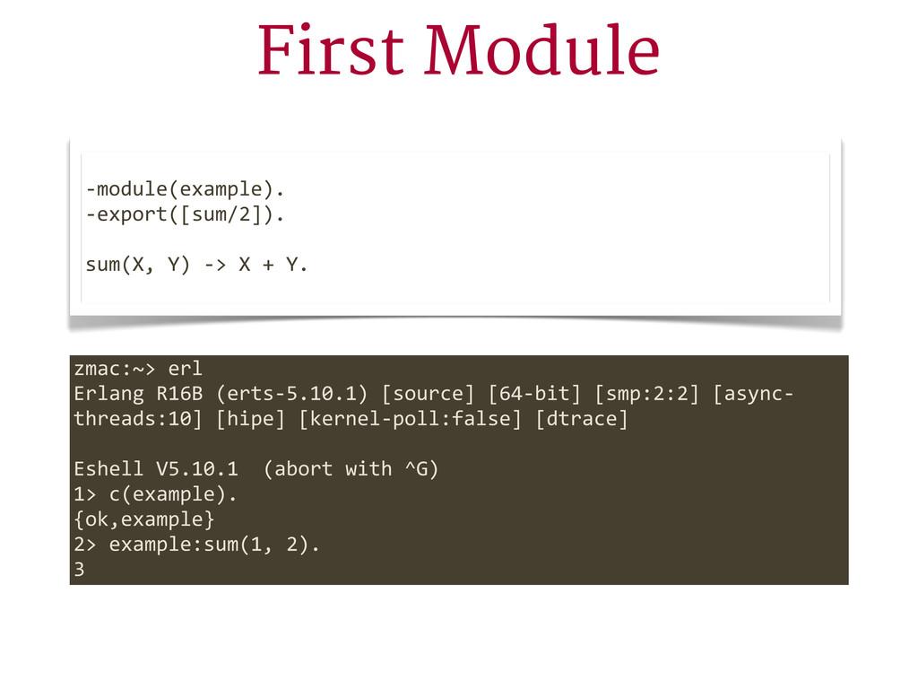 First Module -‐module(example). -‐export([sum...