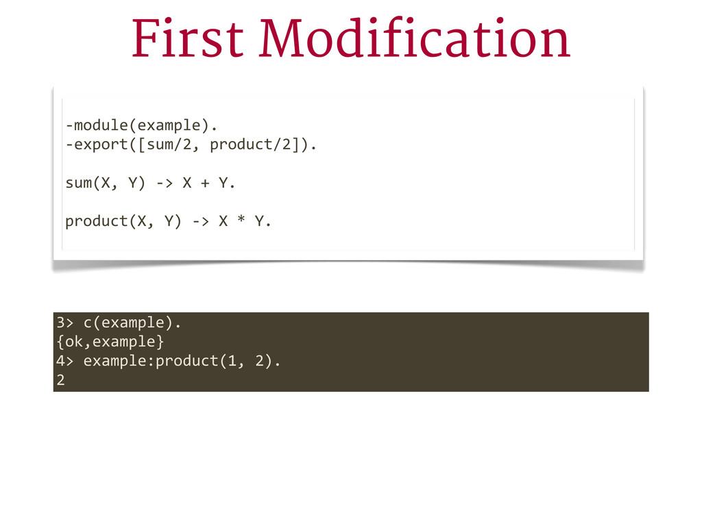 First Modification -‐module(example). -‐expor...