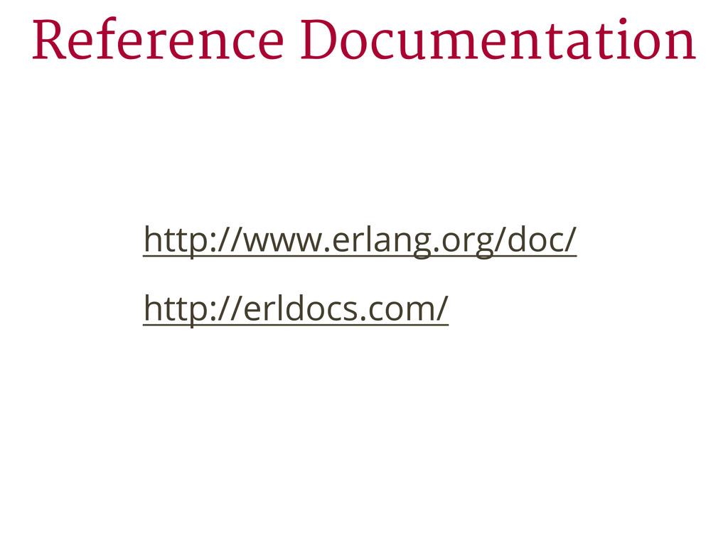 http://www.erlang.org/doc/ http://erldocs.com/ ...
