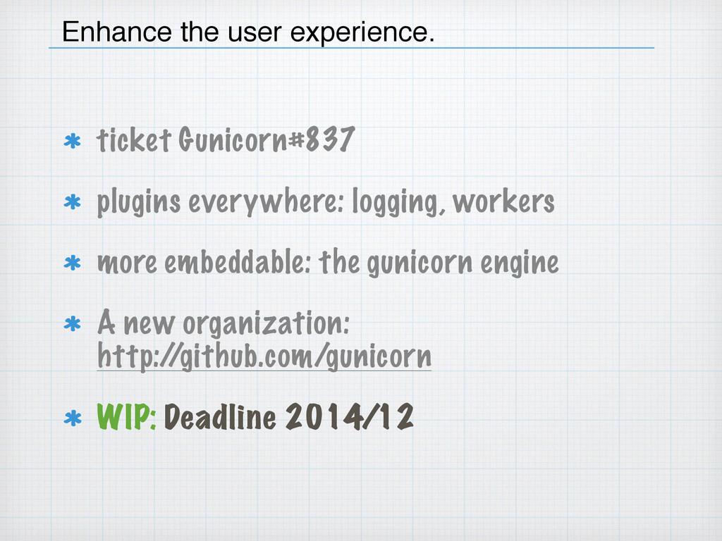 ticket Gunicorn#837 plugins everywhere: logging...